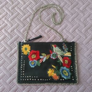 TopShop Black Leather Cross Body Bag Chain floral